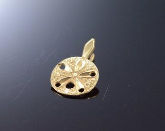 14K Sand Dollar Sea Shell Diamond Cut Charm/Pendant Yellow Gold - EM2309