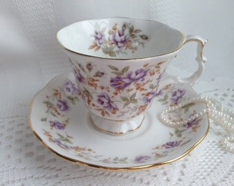 Royal Albert Tea Cup and Saucer, Rose Chintz Series, Purple Lace