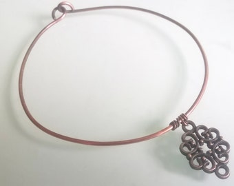 Oxidised intricate charm copper bangle