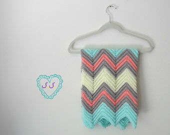 Homemade Baby Chevron Blanket, Afghan, Mint, Pink, Yellow and Gray