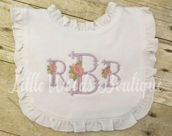 Personalized Preppy Floral Scalloped Monogrammed Ruffle Baby Bib - light purple