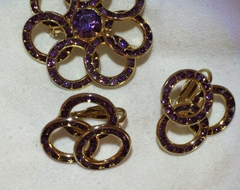 Amethyst and gold brooch and earring set