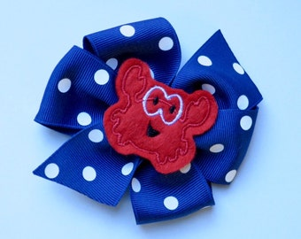 Polka Dot Crab Boutique Bow | Embroidered Bow for Girls | Feltie