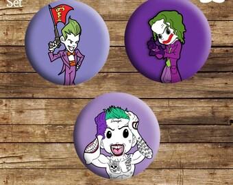 Joker Button Badge Set (3x 25mm - 1 inch)