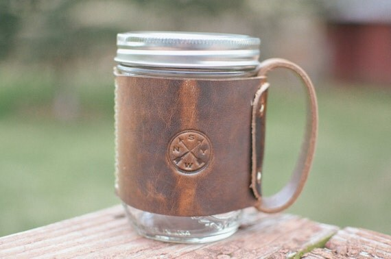 Leather Mason Jar Cozy Mug W Handle Amp Copper Rivets The