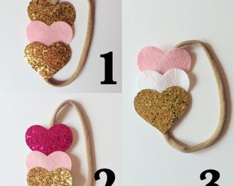 Felt Hearts Headband . Valentine's Day headband. Glitter Hearts .
