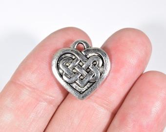 6 Celtic Heart Charms - Irish Knot  Charms - Celtic Knot Earring Charms - Celtic Charms - Celtic Knot Charms - Celtic Knot Pendant - SC1434