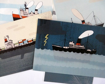 Lot of 8 postcards | BOAT | digital printing | quentinriviere