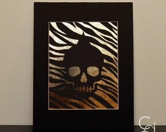 Zebra Skull Foil Print with Black Photo Mat