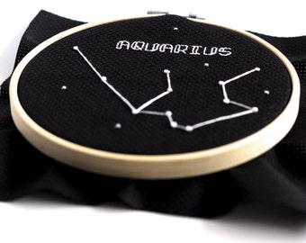 Aquarius Zodiac Cross Stitch Pattern January February Digital Download Outer Space Personalized Gift Embroidery Office Decor Science