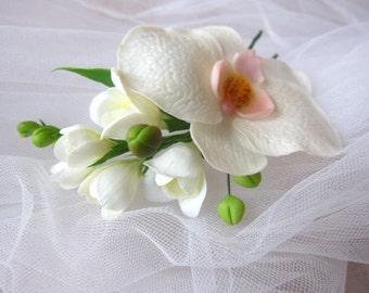 Bridal hair flower - white orchid, bridal flower hair clip, wedding hair flowers, bridal hair pin, cold porcelain, bridal hair accessory