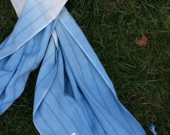 Blue Dip Dye Hand-Woven Bamboo Scarf - Shawl - Wrap