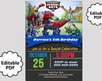 EDITABLE TEXT Rescue Bots Birthday Invitation - Rescue Bots Birthday Invites -  Rescue Bots Birthday Invite -Instant Download