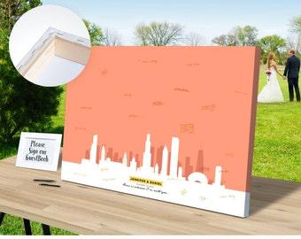 Wedding Guest Book Canvas Skyline CHICAGO - Ready to Hang - Guestbook Custom - Wedding ideas - Wedding Reception