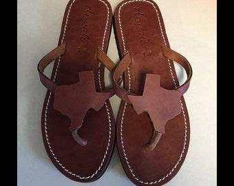 Texas state flip flops shoes handmade custom