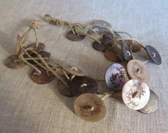 Scoop Neck shell buttons-Handmade