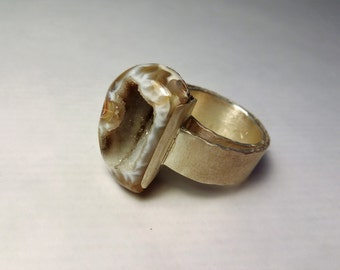 Silver ring, hammered edges and Matt finish with stone Druze