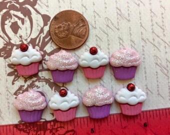 SET of 8 Bright and Colorful Pink/ Purple Cupcake Flatbacks