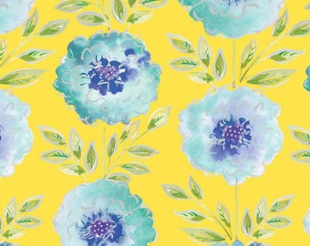 The Painted Garden Dena Designs Roses on Yellow   Quilt Fabric Free Spirit  BTY