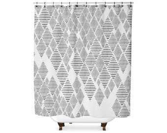 Geometric tribal diamond pattern shower curtain
