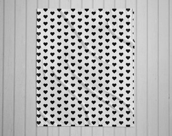 Black and white hearts modern plush throw blanket with white back