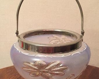 Vintage Glass Sugar Bowl / Vintage Decorative Frosted Glass Dish / Vintage Bowl / Frosted Glass Flower Design Bowl with Handle