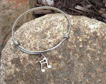 Music Note Charmed Bracelet - Expandable Silver Bangle Bracelet