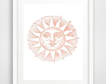 Pink Sun Print, watercolor sun, sun wall art, sun art, vintage sun print, Victorian sun, wall prints, pink sun decor, Scandinavian art