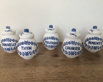 Vintage Set of 5 French  Kitchen Milk  Glass SPICE CANISTERS 5 Pots à Epices Blue  Majolica  Porcelain French Gastronomy