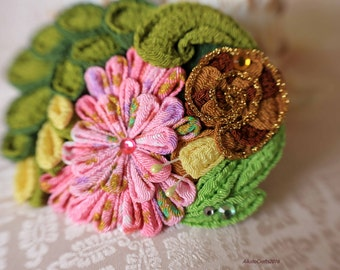 Tsumami Snail and pink flower hair clip