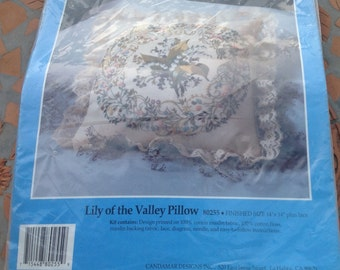 Candamar Designs Embroidery Kit 80255 Pillow Lily Of The Valley 14 x 14 Country Home Cottage Lace Muslin Fabric