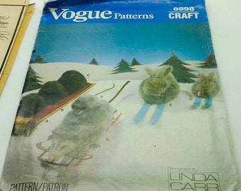 Vogue  Craft Sewing Pattern 8898 594 Stuffed Animals Hedgehog  Rabbit Opossum Toy Linda Carr New Uncut