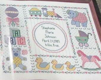 Janlynn Counted Cross Stitch Kit Nursery Time Sampler 69-12 Pram Teddy Bear Baby Rattle Elephant Rocking Horse Ducks Baby Shower Gift