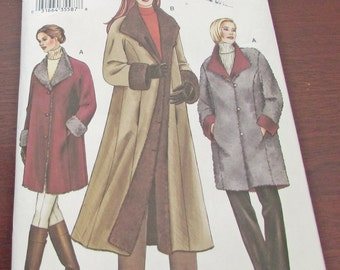Vogue 7627 Sewing Pattern Women Reversible Coat Jacket Fitted Above Mid Knee Above Ankle Size XS X M