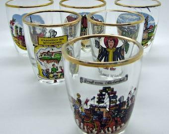 Vintage Shotglass HB Hofbrauhaus Munich Bavaria Germany Octoberfest Schloss Nymphenburg Frauenkirche Lot Of 6 Gold Trim  Stammtish
