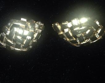 1960's Diamond Shape Woven Metal Earrings
