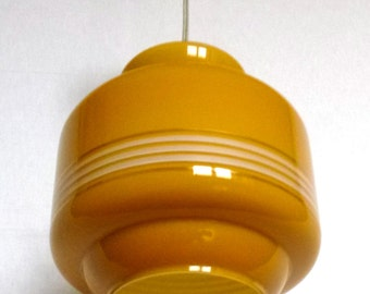 Lamp, hanging lamp of 60s, mid century, mustard color