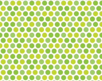 SALE ! > Santa Express from Riley Blake Designs  > Santa Express C4721-GREEN Lime Dot < Fabric by the Half Yard