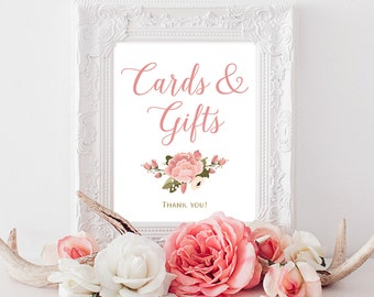 PRINTABLE Cards and Gifts Sign | 8x10, 5x7 Vintage Peony Wedding Gift Table Print | Floral Pink & White Reception Print INSTANT DOWNLOAD