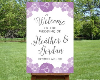 PRINTABLE Large Wedding Sign, Customized Wedding Welcome Sign, Floral Purple & Gray Wedding Sign, Bridal Shower DIGITAL FILE