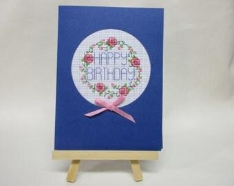 Birthday Card Cross Stitched