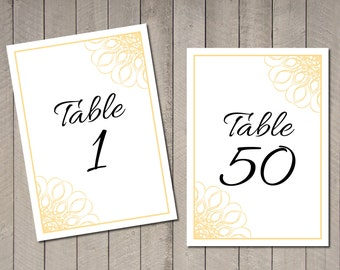 Black and Gold Wedding Table Numbers Instant Download Table Numbers 5x7 Print at Home