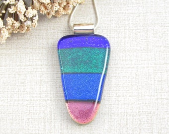 Blue, Green and Red Striped Fused Dichroic Pendant - Color Block Glass Necklace