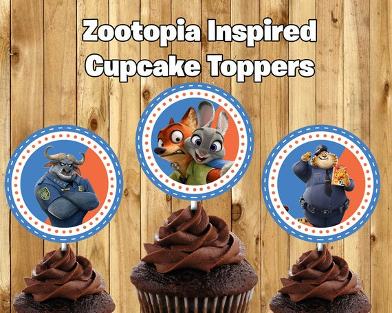 Zootopia Inspired Cupcake Toppers Zootopia Cake Toppers Zootopia Birthday Decoration Zootopia Cupcakes Zootropolis Cupcake Toppers