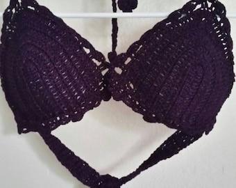 Purple crochet bathing suit TOP
