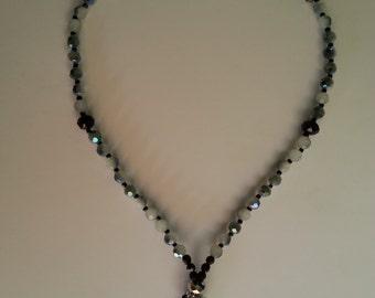 Two Toned Black Glass Rosary