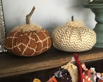 Fabric Pumpkins, Thanksgiving Decor, Chevron Pumpkins, Shabby Chic Pumpkins, Fall Decor, Thanksgiving Centerpiece