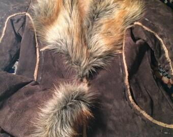 Leather womans sz S fur trimmed jacket
