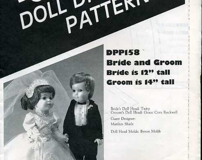 "FREE US SHIP Poissot Doll Dress Pattern Retro 1980's dpp158 Bride & Groom 12"" 14""  Sewing Pattern Insert From Dollcrafter Vintage Magazine"