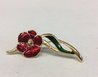 Vintage Red Flower Brooch